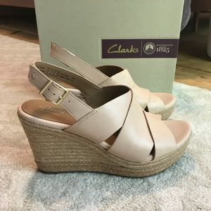 d41216e156d Clarks Shoes - Clarks Amelia Nude Leather 4 inch Wedge Sandal